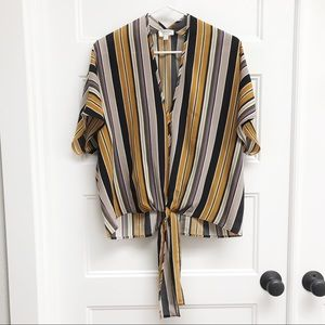Blu Pepper Striped Tie Front Blouse